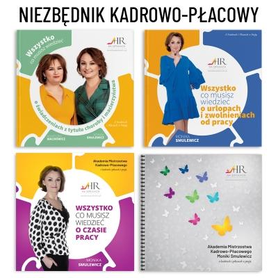 """Niezbędnik kadrowo-płacowy: Książki """"Świadczenia z tytułu choroby i macierzyństwa"""", """"Urlopy"""" i """"Czas Pracy"""" + Notes"""